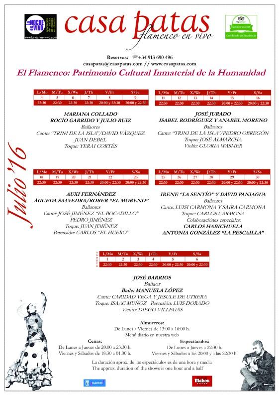 programación del mes de julio en el tablao flamenco de Casa Patas