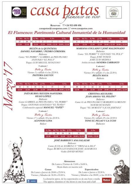 Programación del mes de marzo en el tablao flamenco de Casa Patas